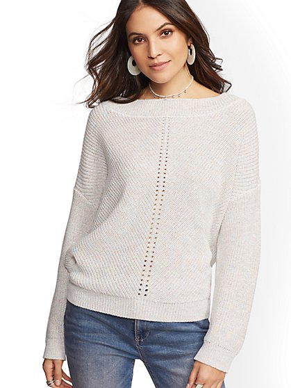 Shimmering Bateau-Neck Dolman Sweater - New York & Company