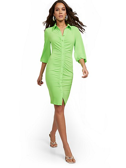 Shirred 3/4-Sleeve Shirtdress - New York & Company
