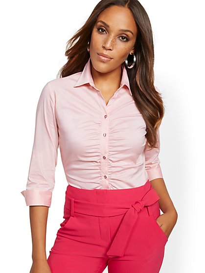 Shirred Madison Stretch Shirt - 7th Avenue - New York & Company