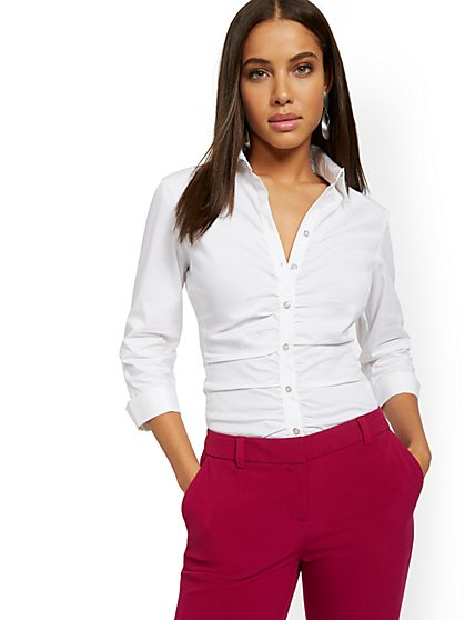 Shirred Madison Stretch Shirt - Secret Snap - 7th Avenue - New York & Company
