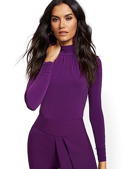 Shirred Mock-Neck Top - 7th Avenue - New York & Company