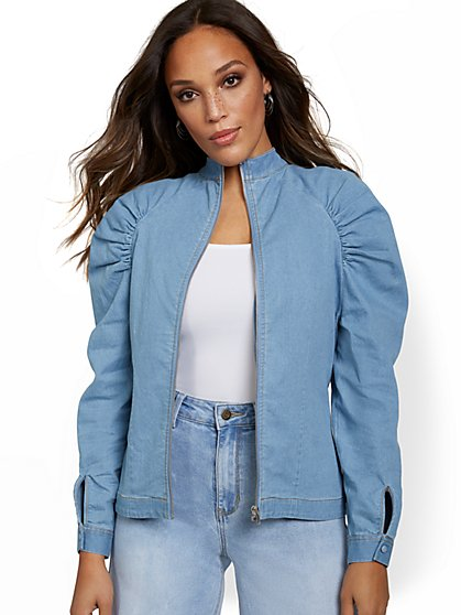 Shirred Shoulder Denim Jacket - New York & Company