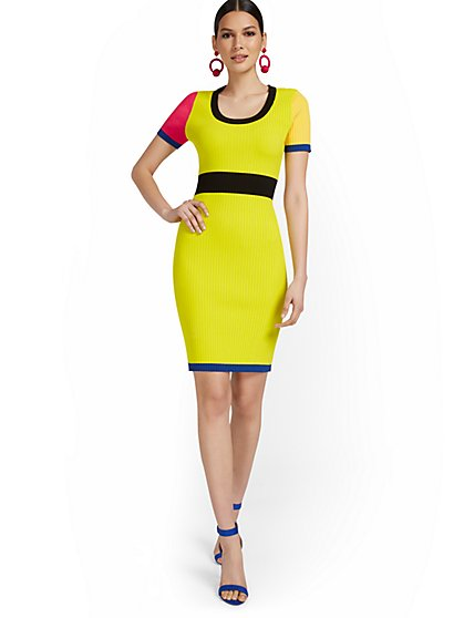 Short-Sleeve Colorblock Sweater Dress - New York & Company