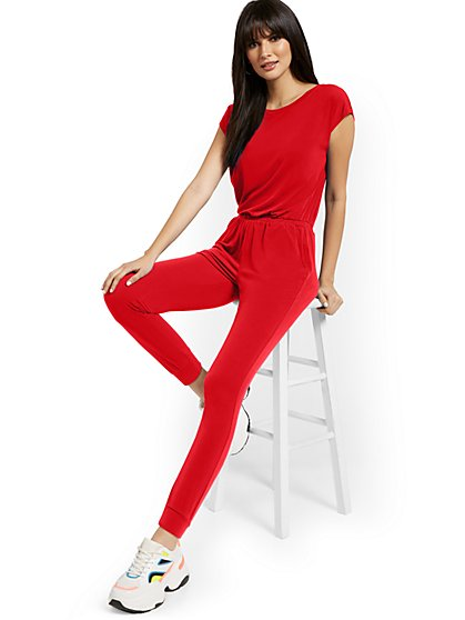 Short-Sleeve Jumpsuit - New York & Company