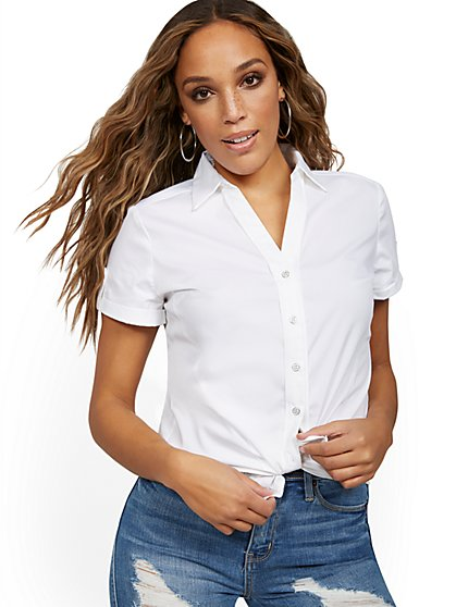 Short-Sleeve Madison Stretch Shirt - Secret Snap - 7th Avenue - New York & Company