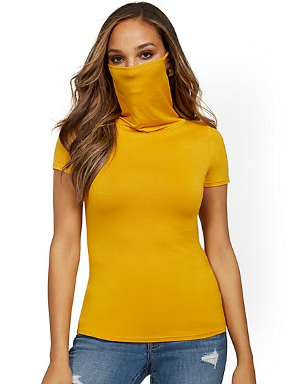 Short-Sleeve Mask Top - New York & Company