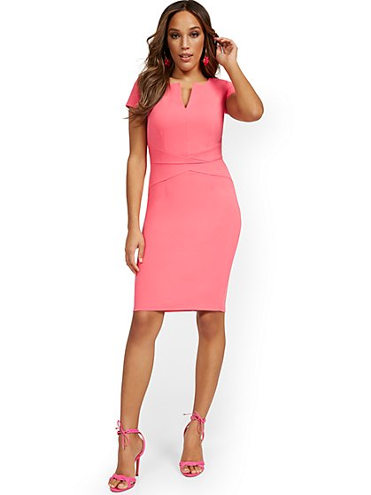 Short-Sleeve Seam-Front Sheath Dress - Magic Crepe® - New York & Company