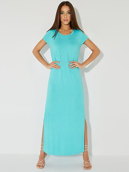 Short-Sleeve Side-Slit Maxi Dress - NY&C Style System - New York & Company