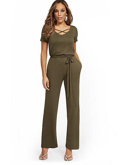 Short-Sleeve Tie-Front Knit Jumpsuit - New York & Company