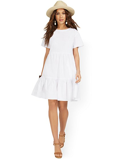 Short-Sleeve Tiered Babydoll Dress - New York & Company