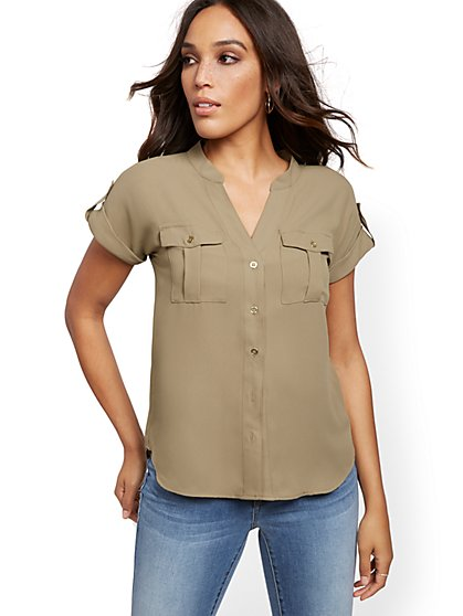 Short-Sleeve Utility Shirt - New York & Company