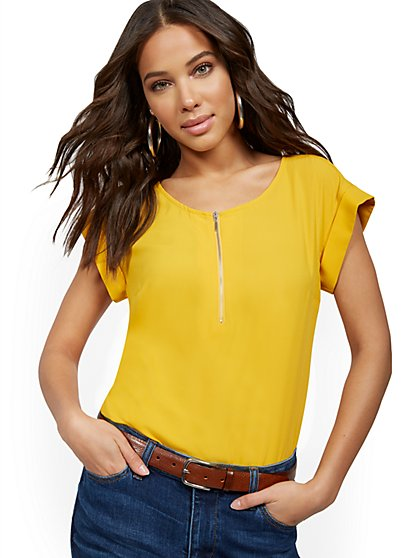 Short-Sleeve Zip-Front Tee - New York & Company