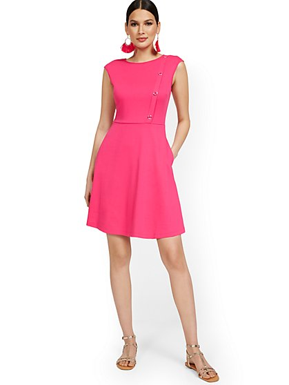 Side-Button Flare Dress - City Knits - New York & Company