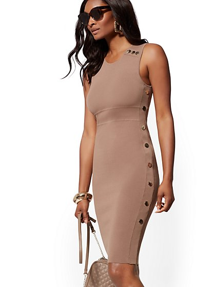 Side-Button Sweater Sheath Dress - 7th Avenue - New York & Company