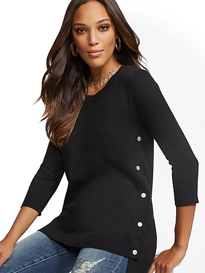 Side-Snap Tunic Sweater - New York & Company