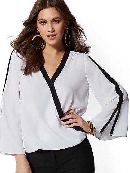 Side-Stripe V-Neck Wrap Blouse - New York & Company