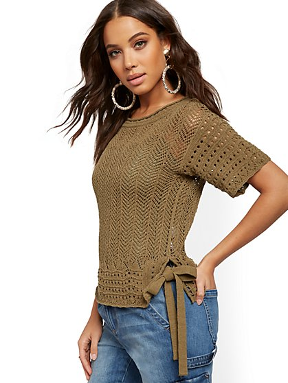 Side-Tie Open-Stitch Sweater - New York & Company