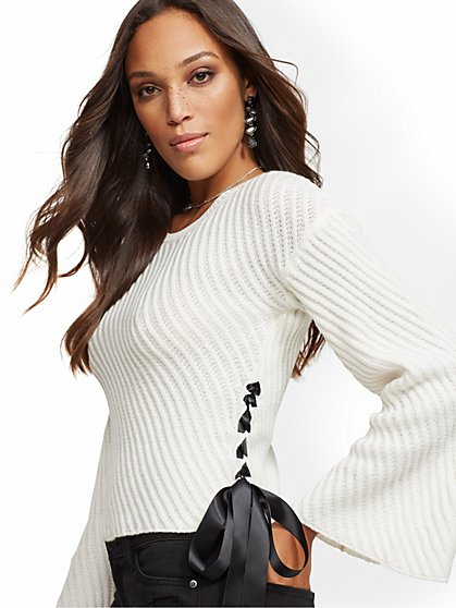 Side-Tie Ribbed-Knit Sweater - New York & Company