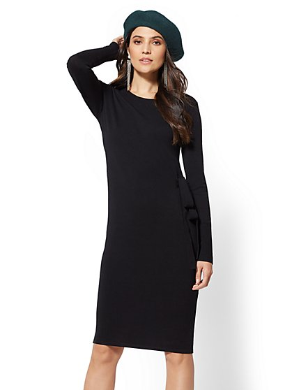 Side-Tie Sheath Sweater Dress - New York & Company