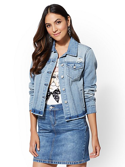 Side-Zip Denim Jacket - New York & Company