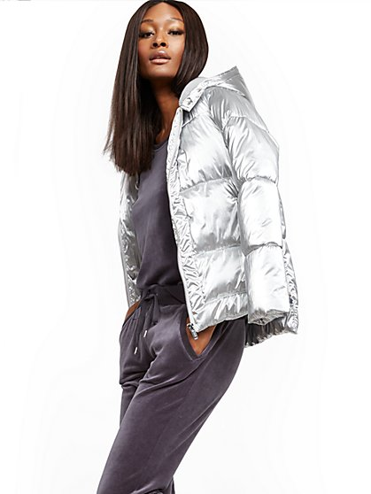 Silver Hooded Puffer Jacket - New York & Company