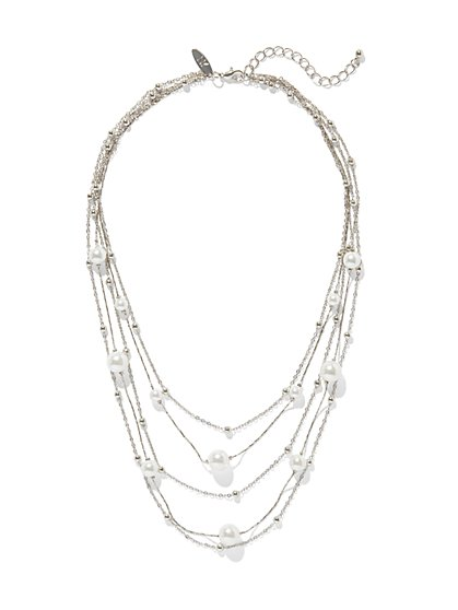Silver Layered Pearl Necklace - New York & Company