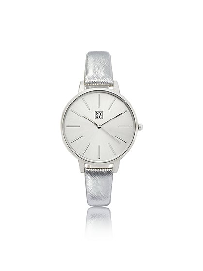 Silver Metallic-Band Watch - New York & Company