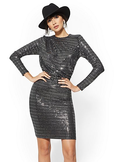 Silver Sequin Sheath Dress - New York & Company