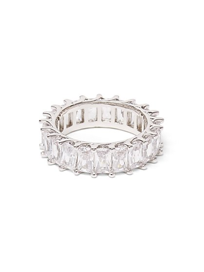 Silvertone Baguette Eternity Ring - New York & Company