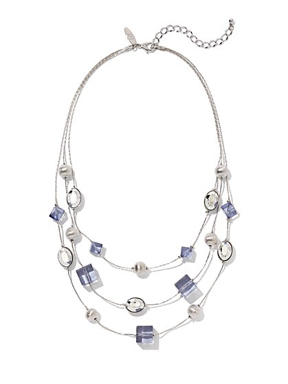 Silvertone Beaded Illusion Necklace - New York & Company