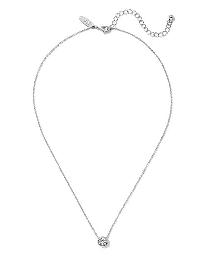 Silvertone Bezel-Set Cubic Zirconia Necklace - New York & Company