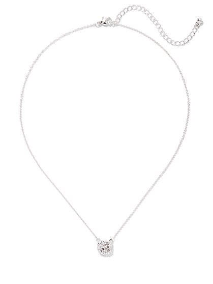 Silvertone Bezel-Set Pave Pendant Necklace - New York & Company