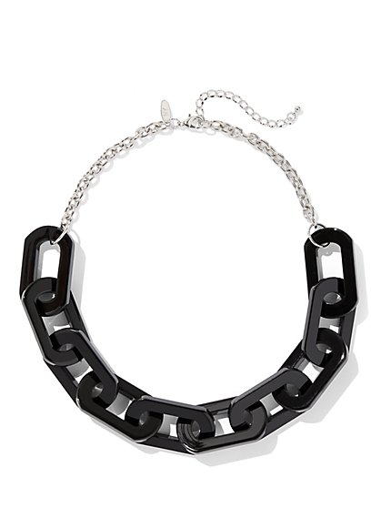 Silvertone Chain-Link Collar Necklace - New York & Company