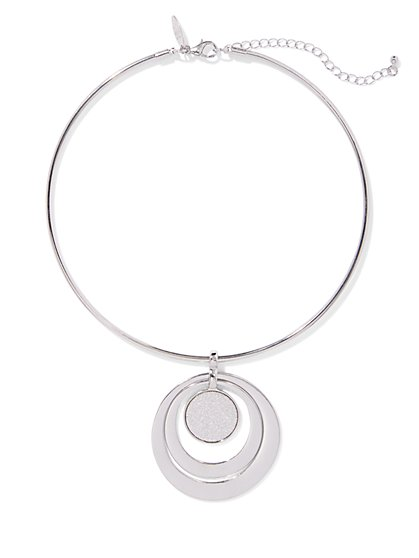 Silvertone Circle Pendant Necklace - New York & Company