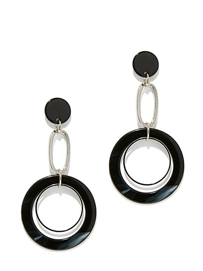 Silvertone Circular Drop Earring - New York & Company