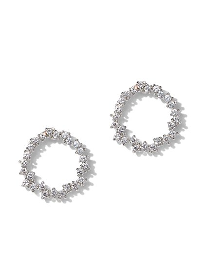 Silvertone Cubic Zirconia Circle Post Earring - New York & Company