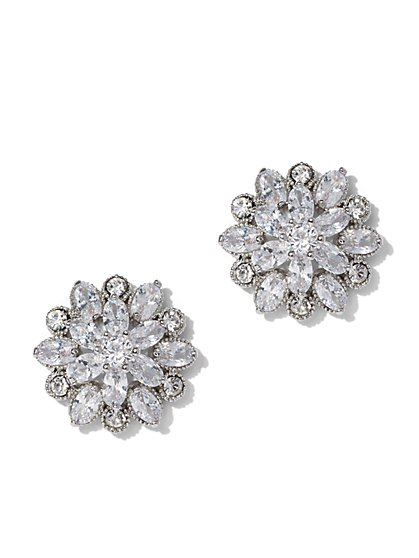 Silvertone Cubic Zirconia Floral Post Earring - New York & Company