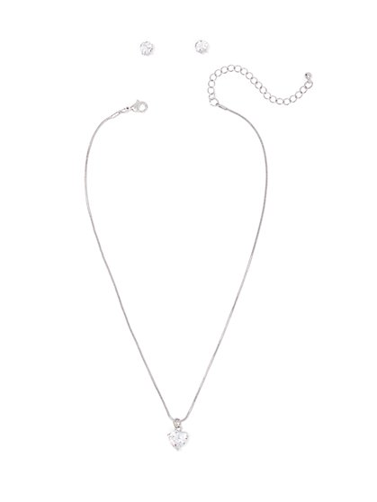 Silvertone Cubic Zirconia Heart Pendant Necklace - New York & Company