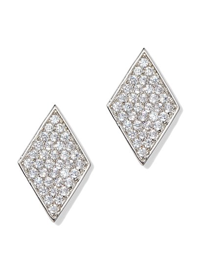 Silvertone Cubic Zirconia Post Earring - New York & Company