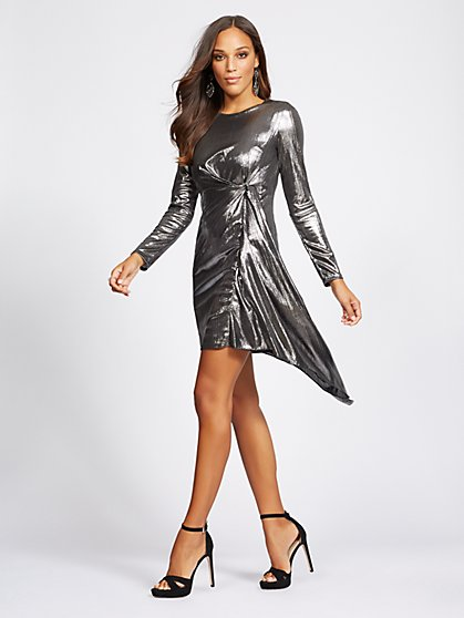 Silvertone Draped Sheath Dress - Gabrielle Union Collection - New York & Company