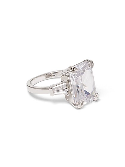 Silvertone Emerald-Cut Engagement Ring - New York & Company