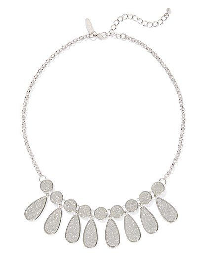 Silvertone Faux-Druzy Statement Necklace - New York & Company