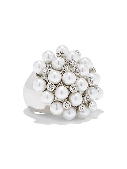 Silvertone Faux-Pearl Cluster Ring - New York & Company
