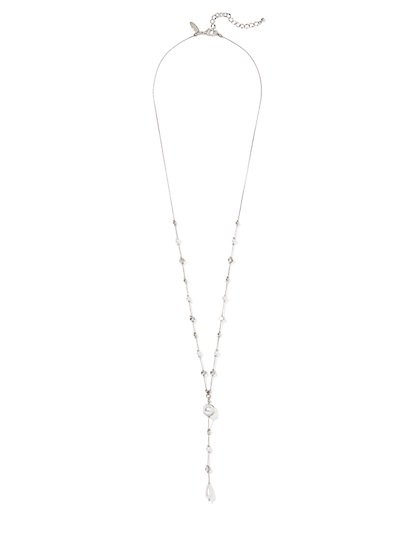 Silvertone Faux-Pearl Lariat Necklace - New York & Company