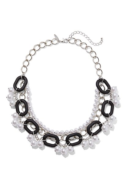 Silvertone Faux-Pearl & Link Statement Necklace - New York & Company