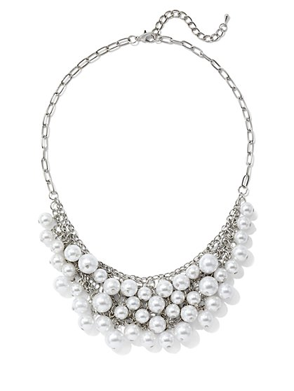 Silvertone Faux-Pearl Statement Necklace - New York & Company