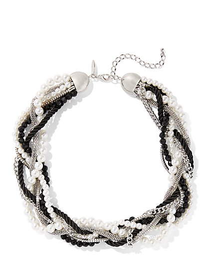 Silvertone Faux-Pearl Torsade Necklace - New York & Company