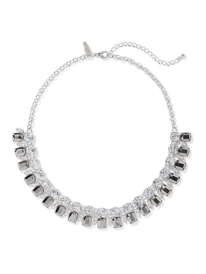 Silvertone Faux-Stone Statement Necklace - New York & Company