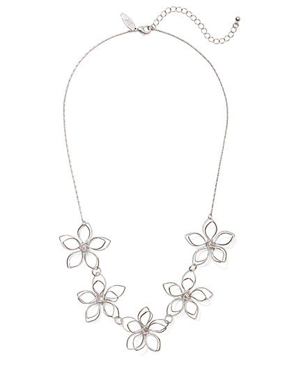 Silvertone Floral Statement Necklace - New York & Company