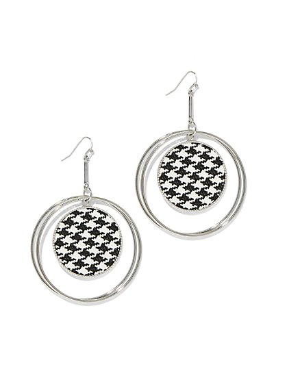Silvertone Houndstooth Drop Earring - New York & Company